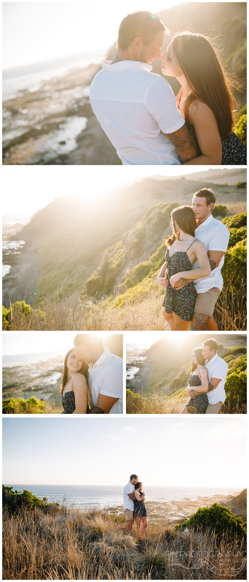 cliff top photos of couple at sunset