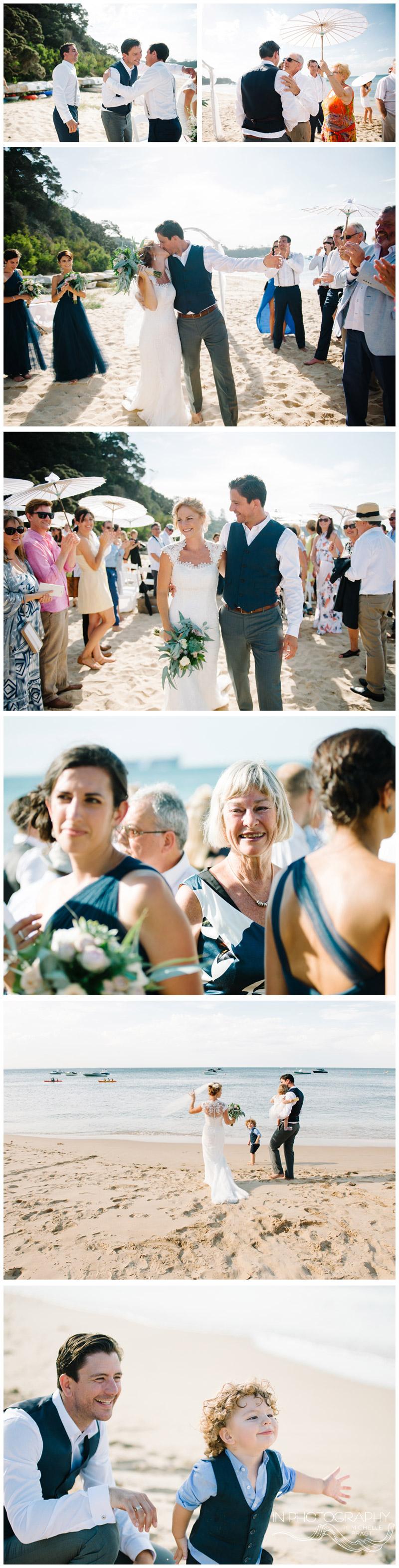 Happy bride and groom after Portsea wedding ceremony
