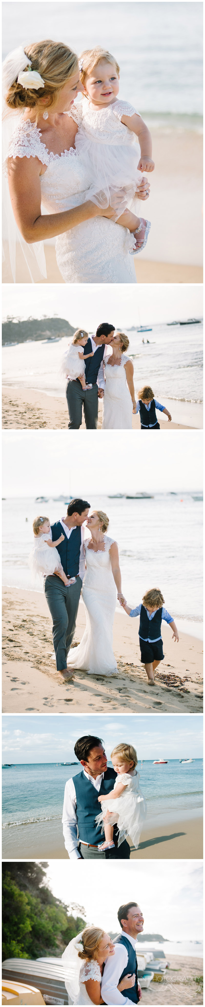 Happy bride and groom with kids on Mornington Peninsula beach