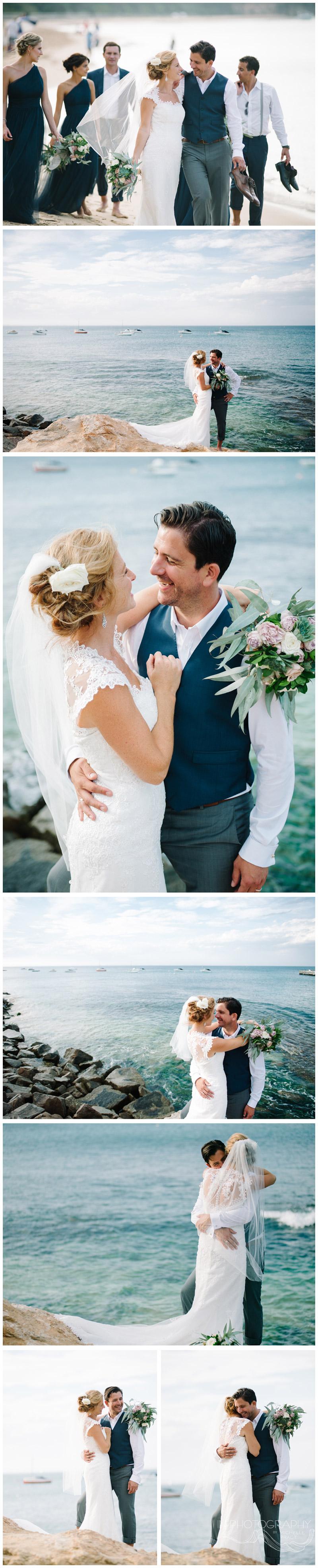 bride and groom beach photos at Portsea