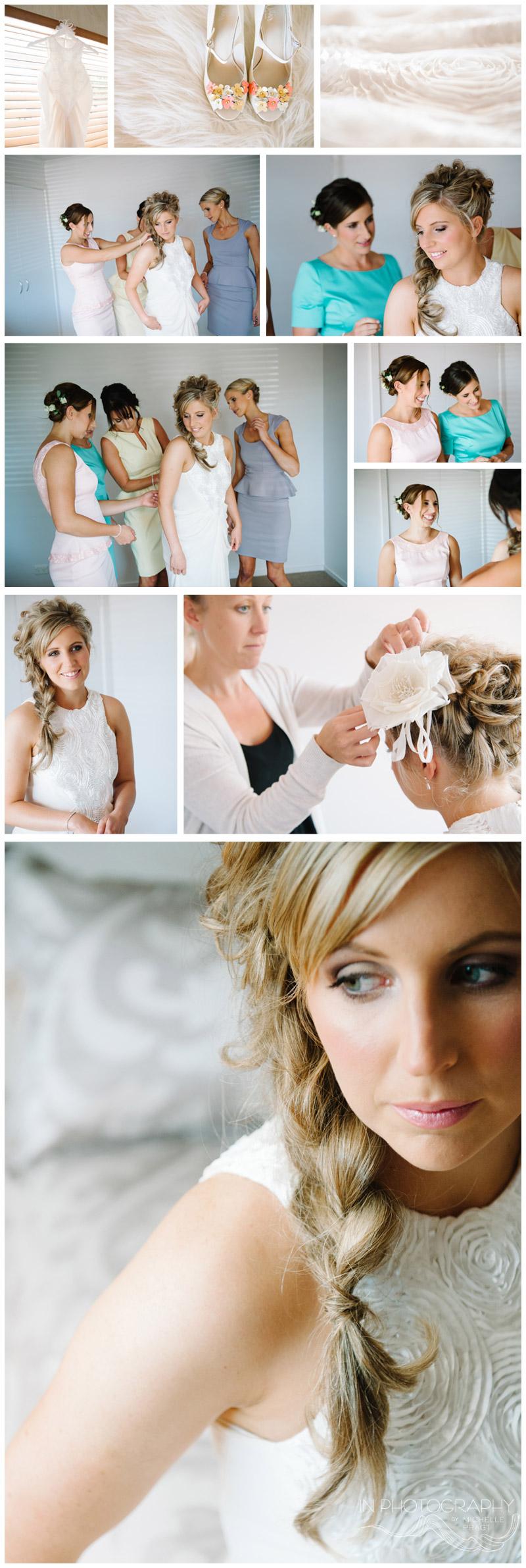 bride with fish tail plait
