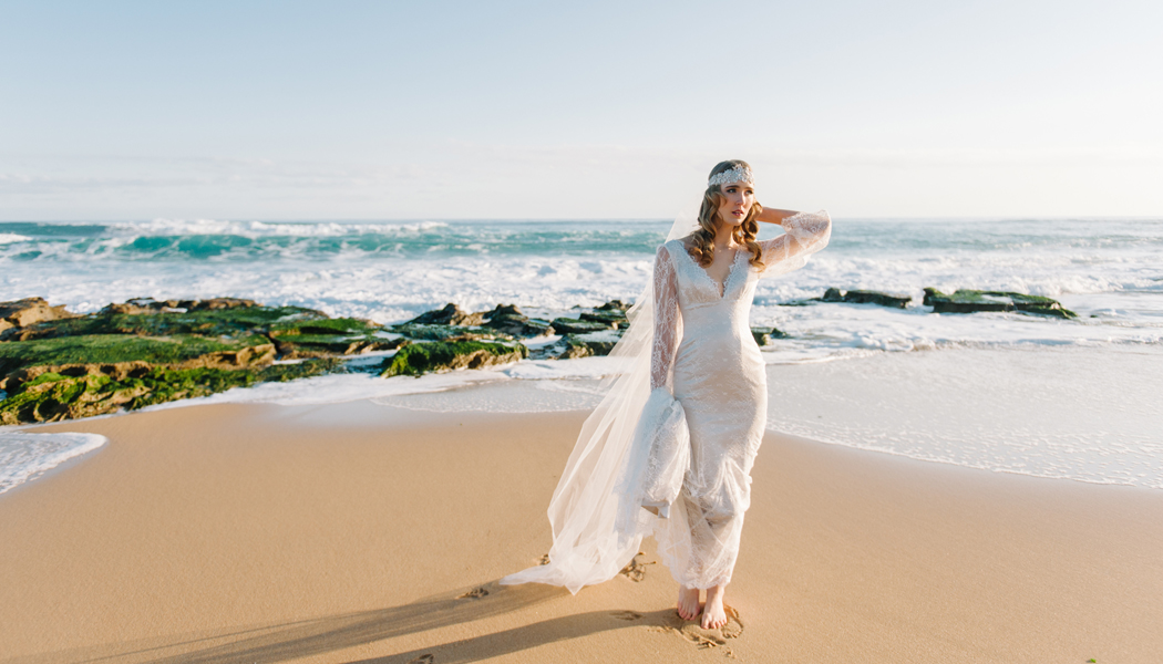 boho bride at beach wedding