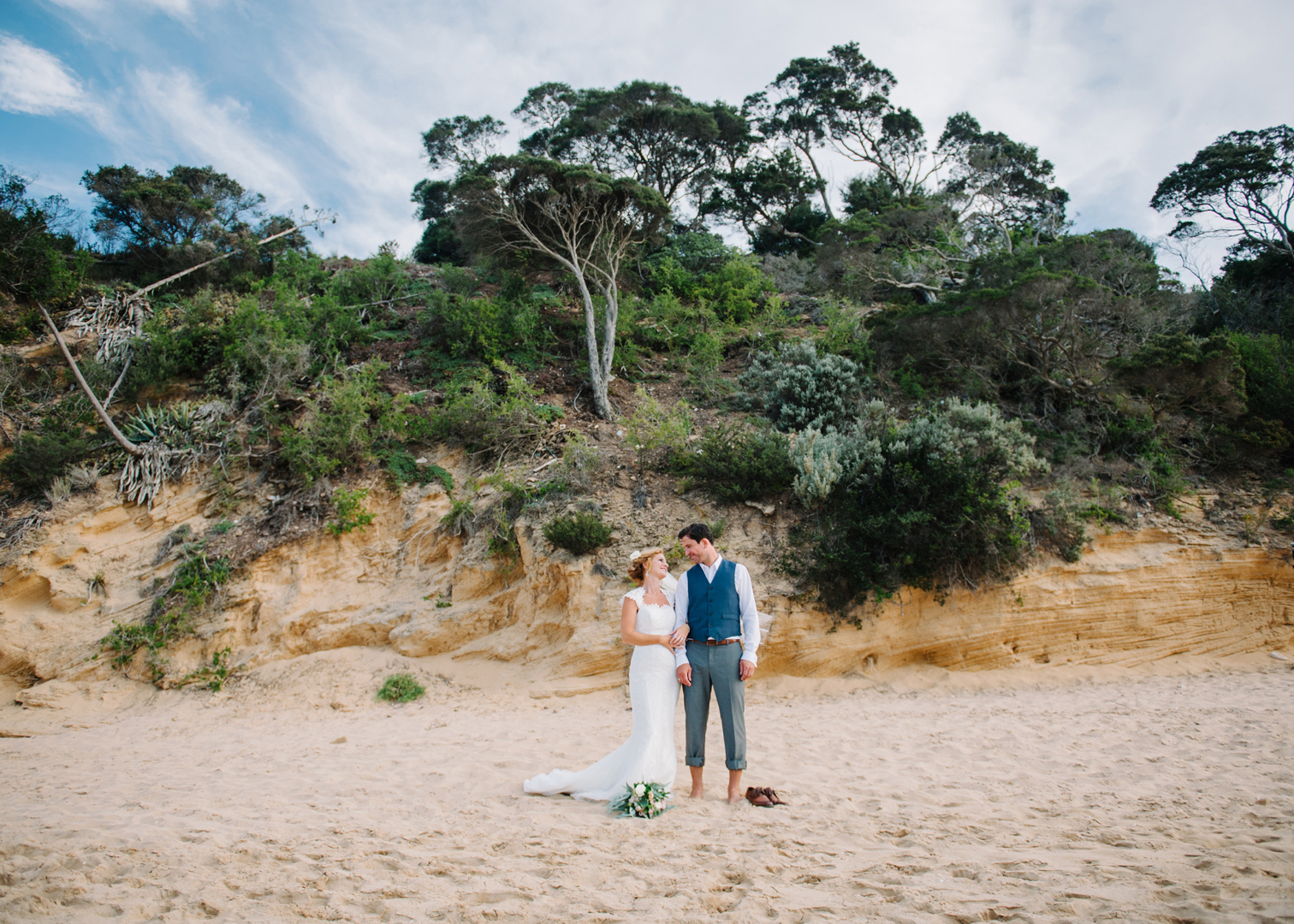 happy couple at Portsea Hotel wedding