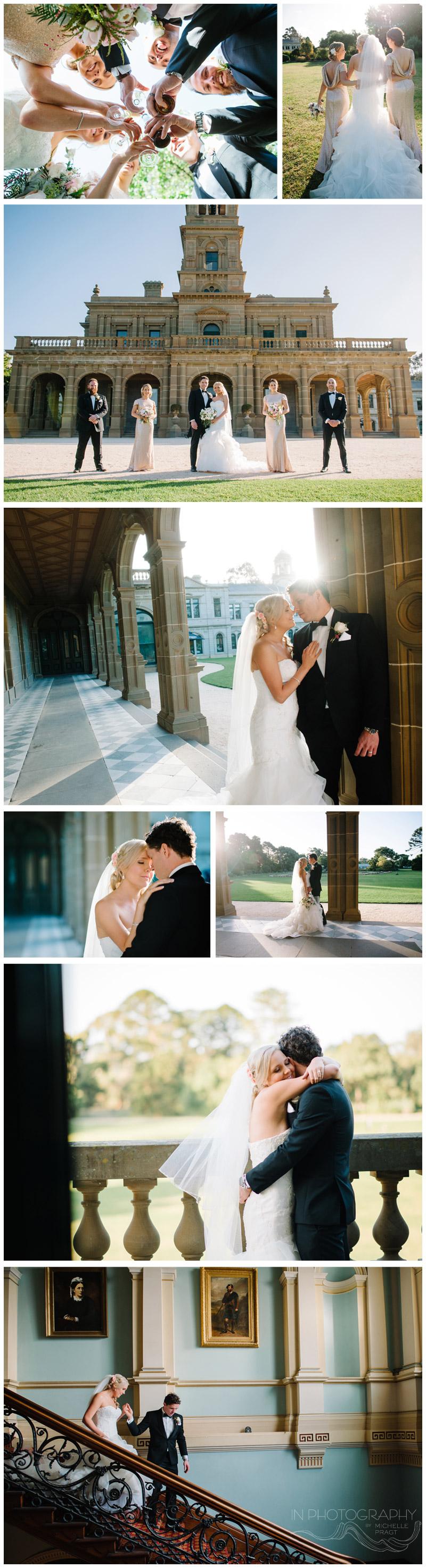 bridal party photos at werribee mansion
