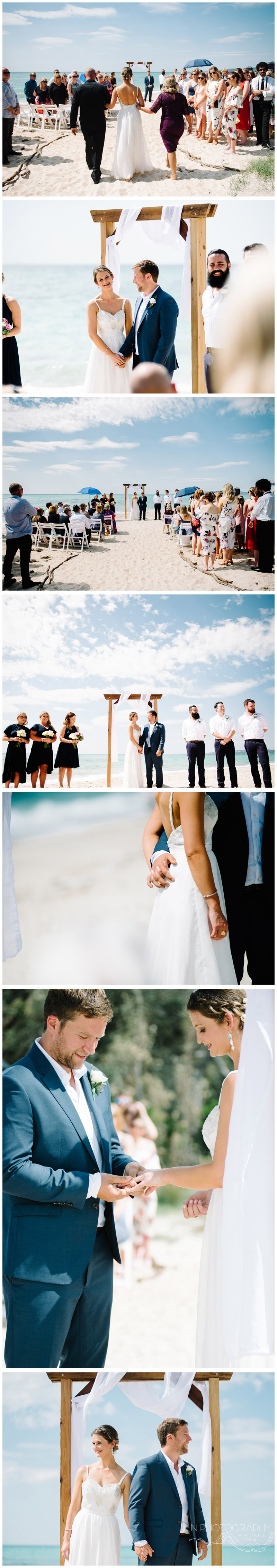 Beach wedding ceremony on mornington peninsula photographed by Michelle Pragt