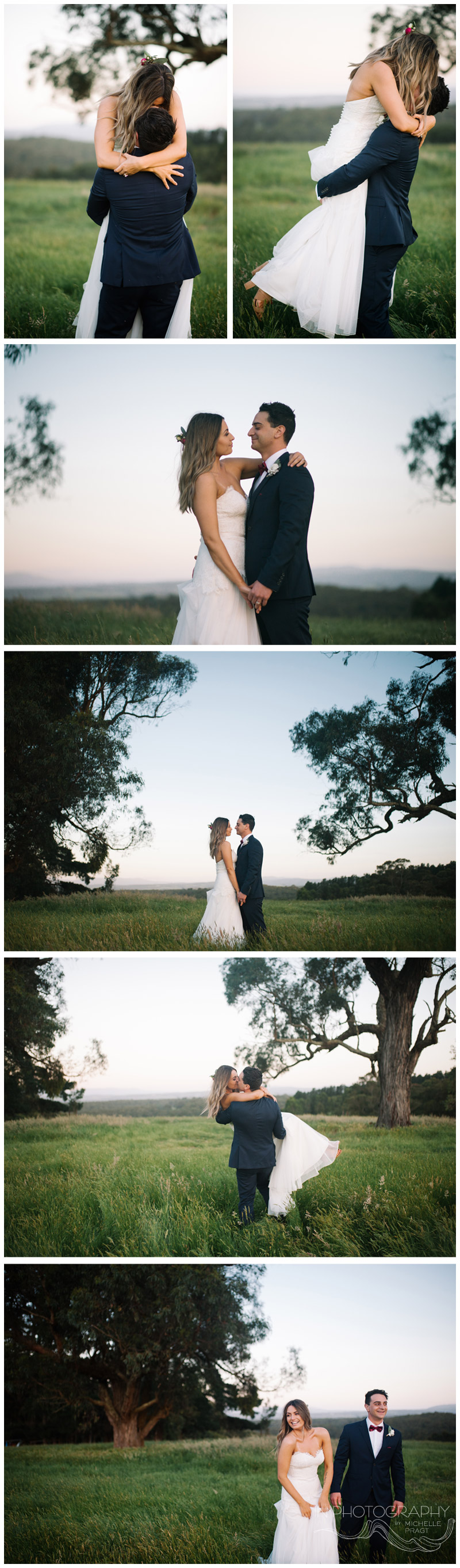 Gorgeous romantic twilight shots of bride and groom by Mornington Peninsula photographer Michelle Pragt